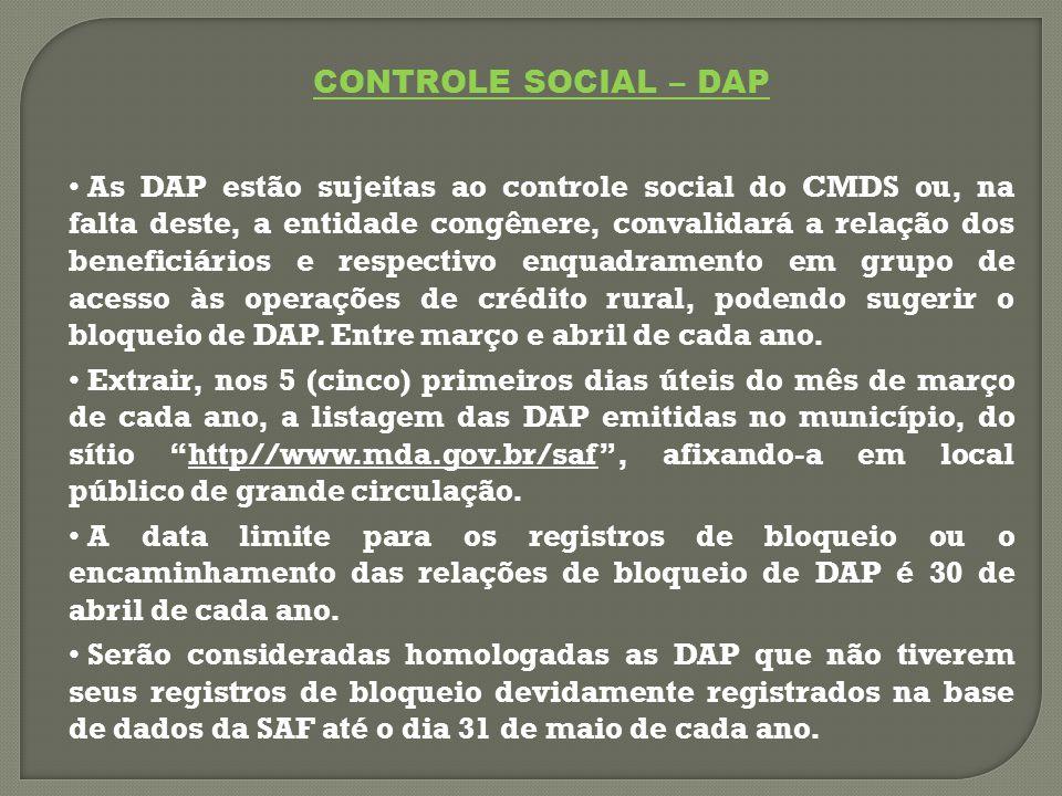 CONTROLE SOCIAL – DAP