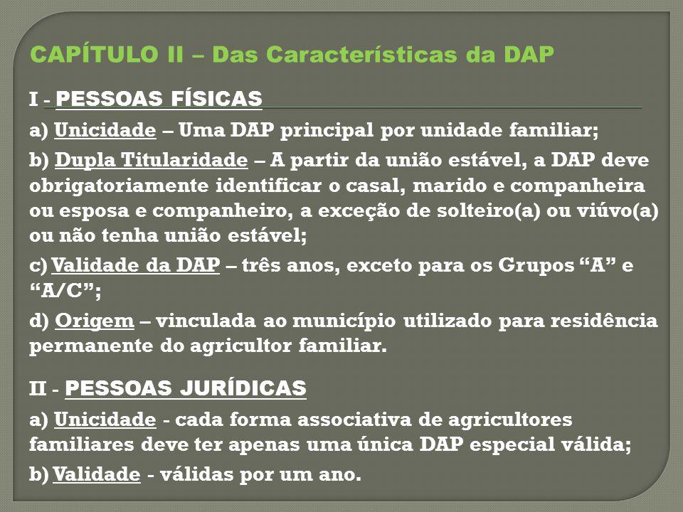 CAPÍTULO II – Das Características da DAP