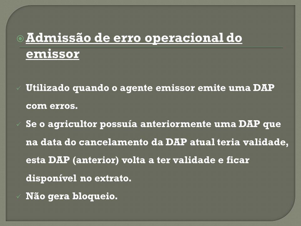 Admissão de erro operacional do emissor