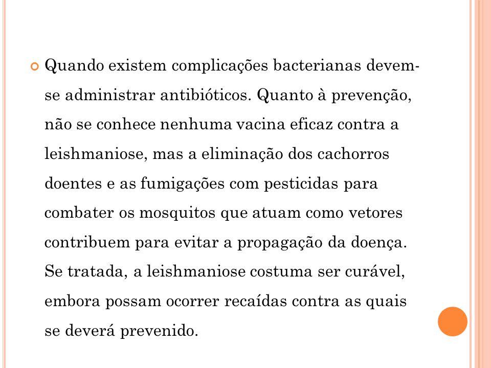 Quando existem complicações bacterianas devem- se administrar antibióticos.