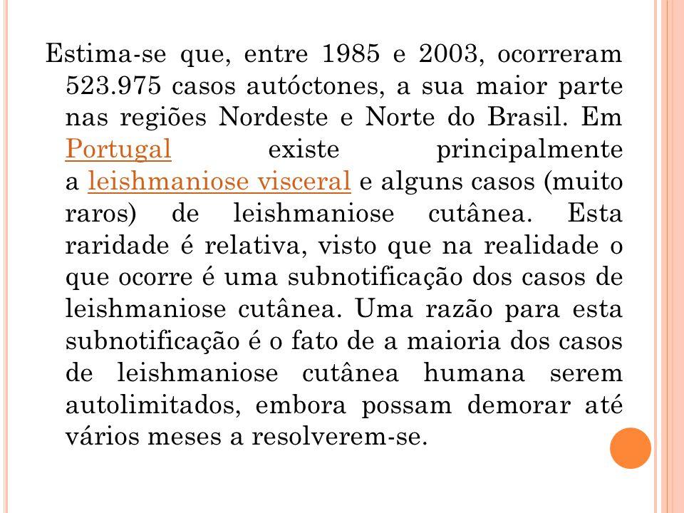 Estima-se que, entre 1985 e 2003, ocorreram 523