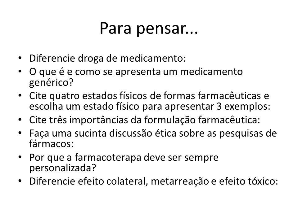 Para pensar... Diferencie droga de medicamento: