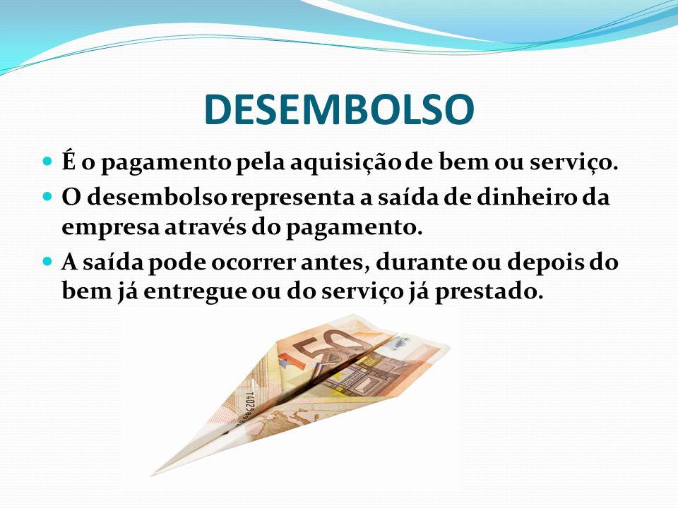DESEMBOLSO É o pagamento pela aquisição de bem ou serviço.