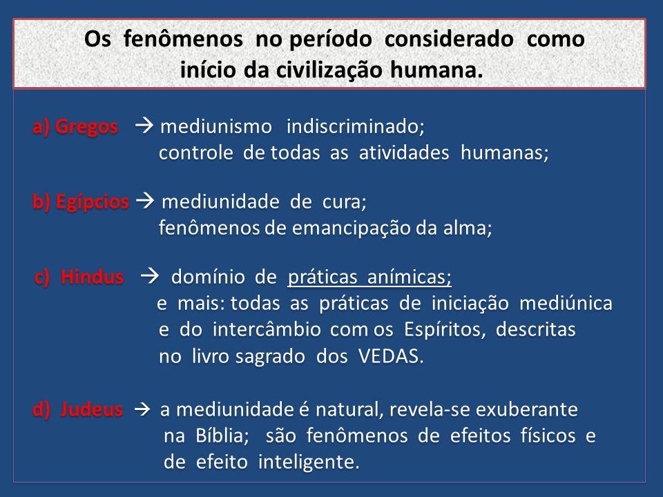 Os fenômenos no período considerado como início da civilização humana.