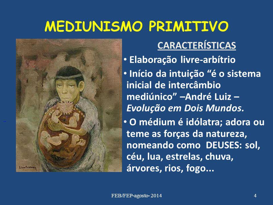 MEDIUNISMO PRIMITIVO CARACTERÍSTICAS Elaboração livre-arbítrio