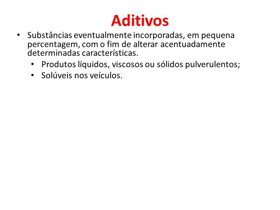 Aditivos Substâncias eventualmente incorporadas, em pequena percentagem, com o fim de alterar acentuadamente determinadas características.