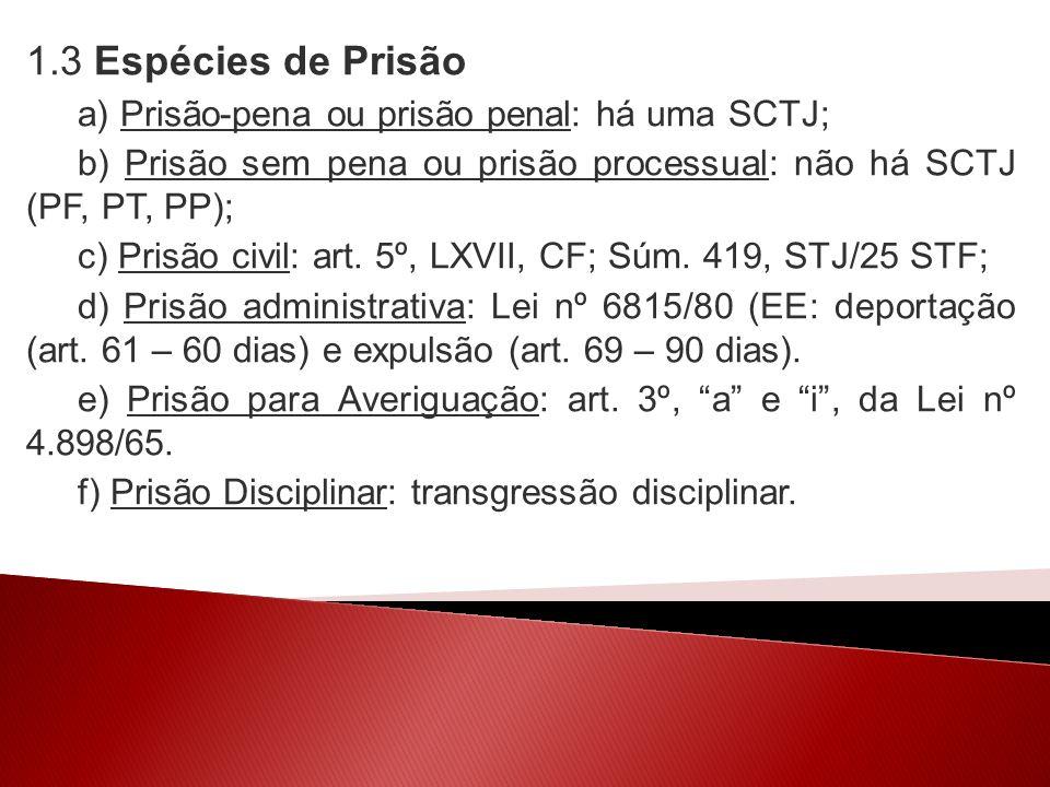 1.3 Espécies de Prisão a) Prisão-pena ou prisão penal: há uma SCTJ;