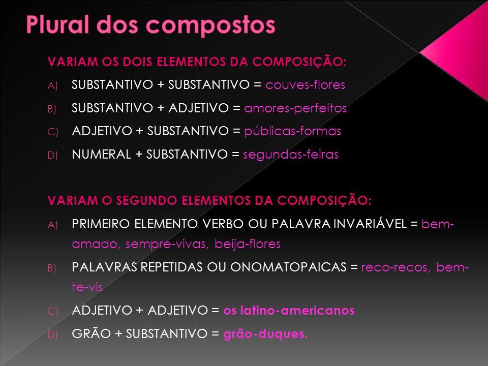 Plural dos compostos VARIAM OS DOIS ELEMENTOS DA COMPOSIÇÃO: