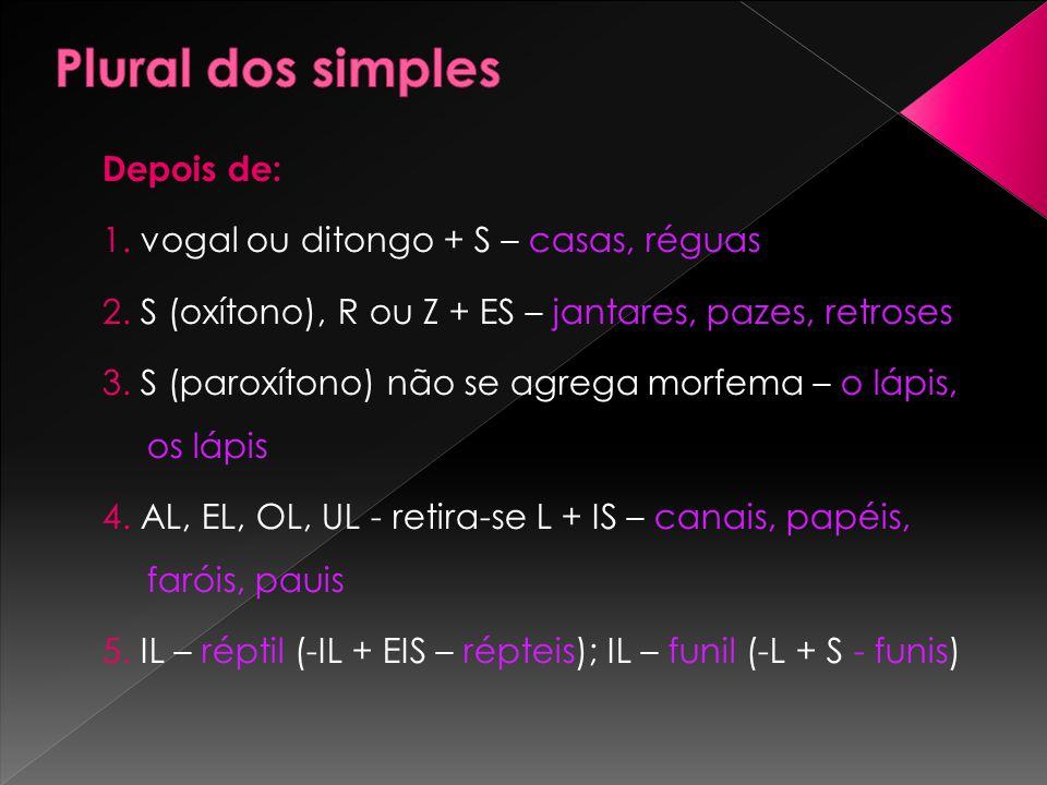Plural dos simples Depois de: 1. vogal ou ditongo + S – casas, réguas