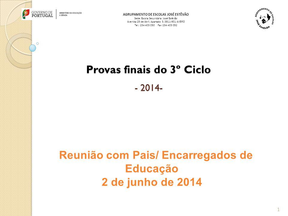 Provas finais do 3º Ciclo - 2014-