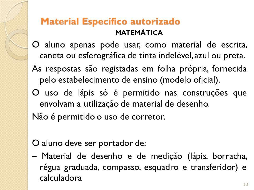 Material Específico autorizado