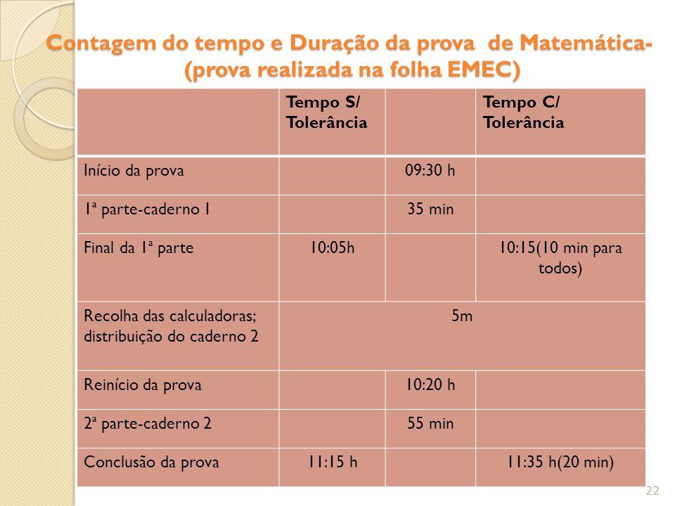 Contagem do tempo e Duração da prova de Matemática- (prova realizada na folha EMEC)