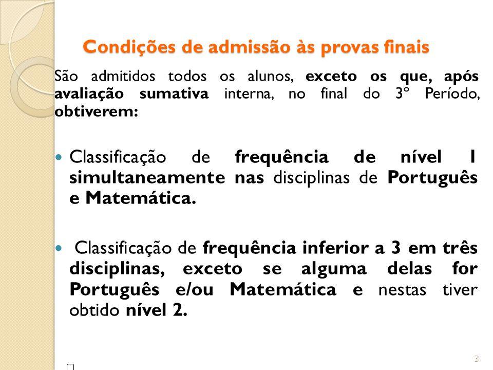 Condições de admissão às provas finais