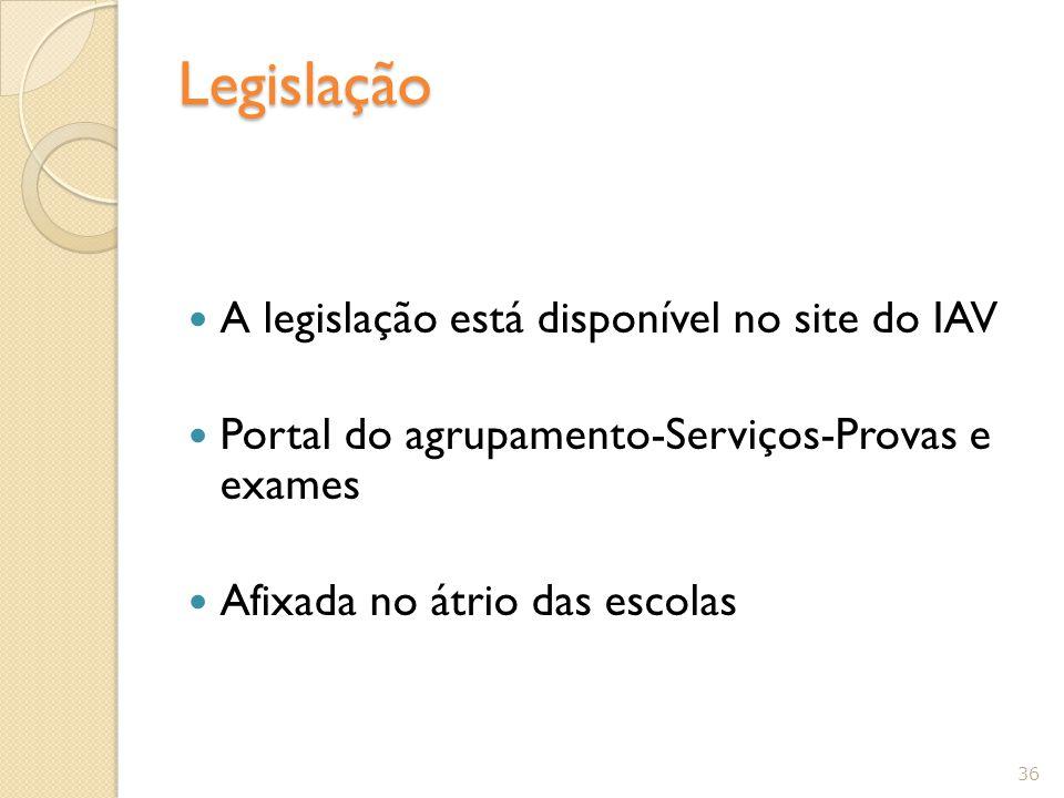 Legislação A legislação está disponível no site do IAV