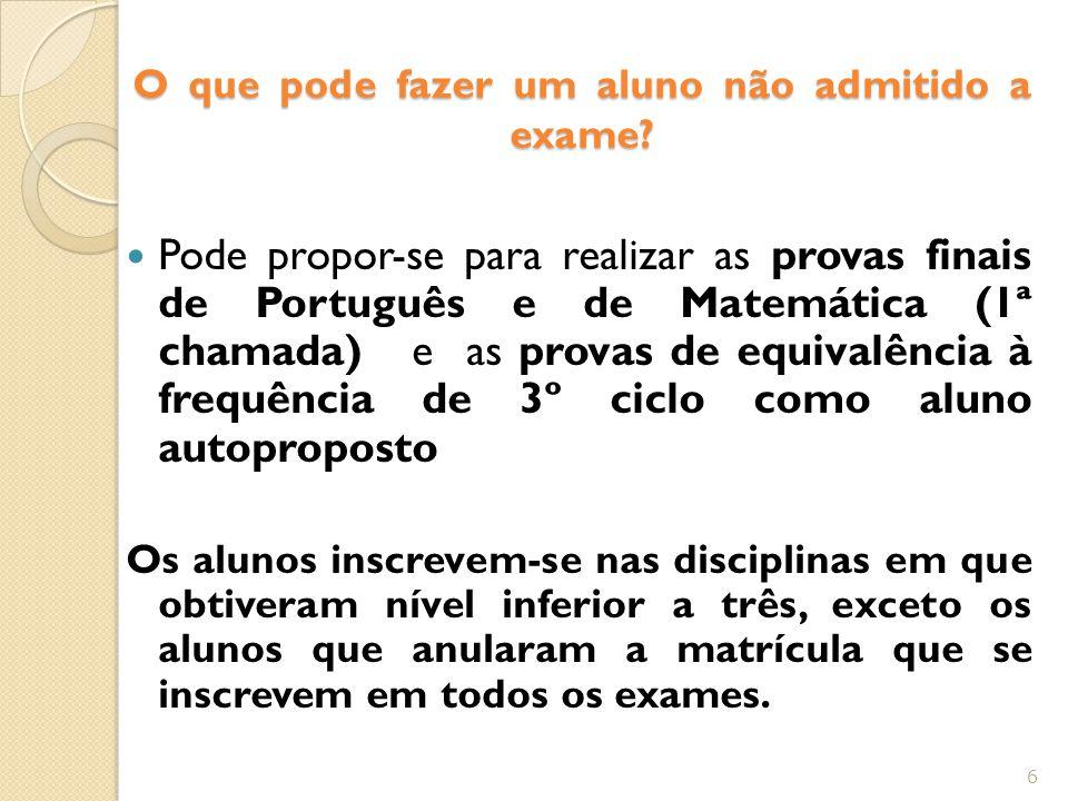 O que pode fazer um aluno não admitido a exame