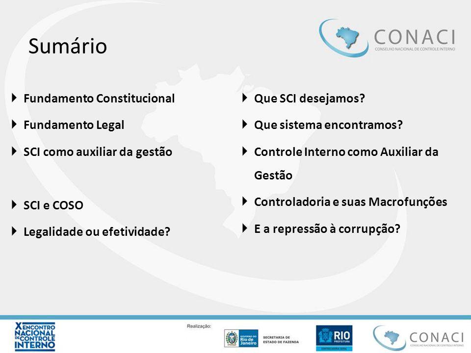 Sumário Fundamento Constitucional Que SCI desejamos Fundamento Legal