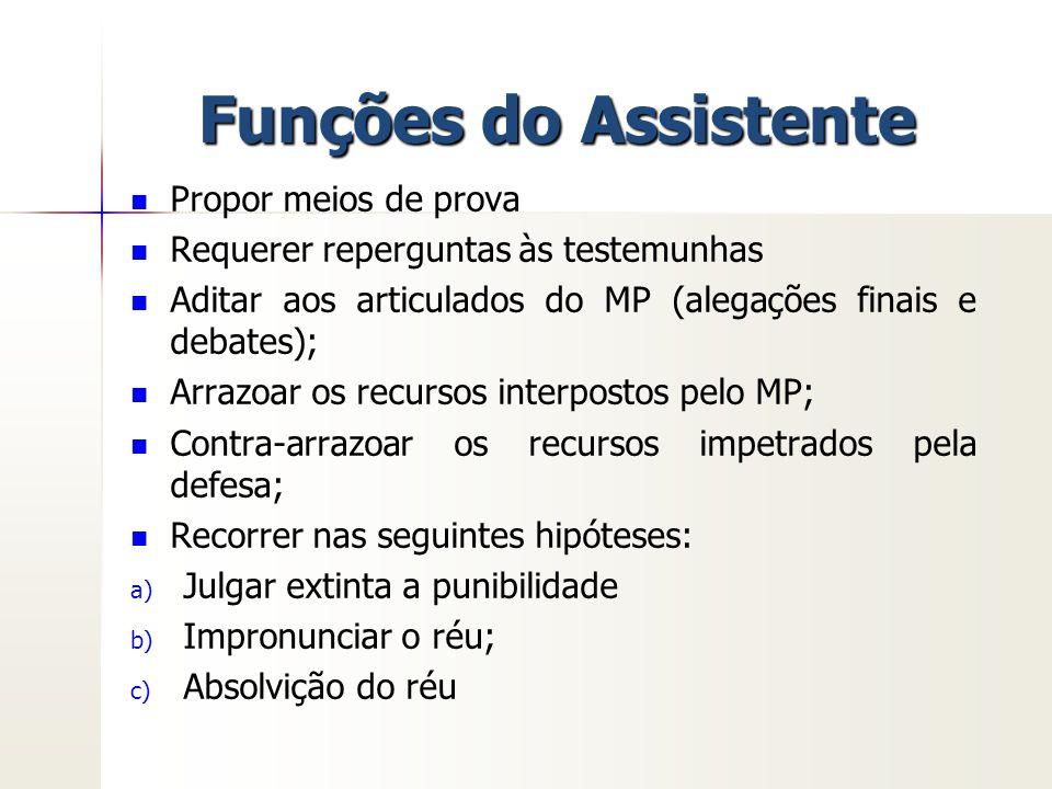 Funções do Assistente Propor meios de prova