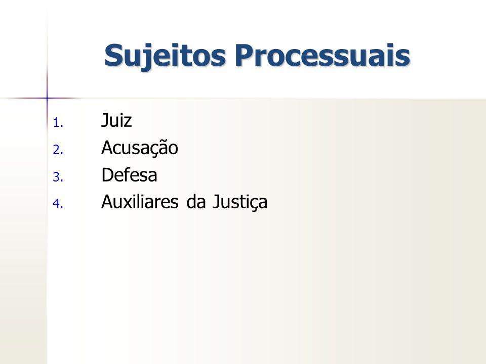 Sujeitos Processuais Juiz Acusação Defesa Auxiliares da Justiça