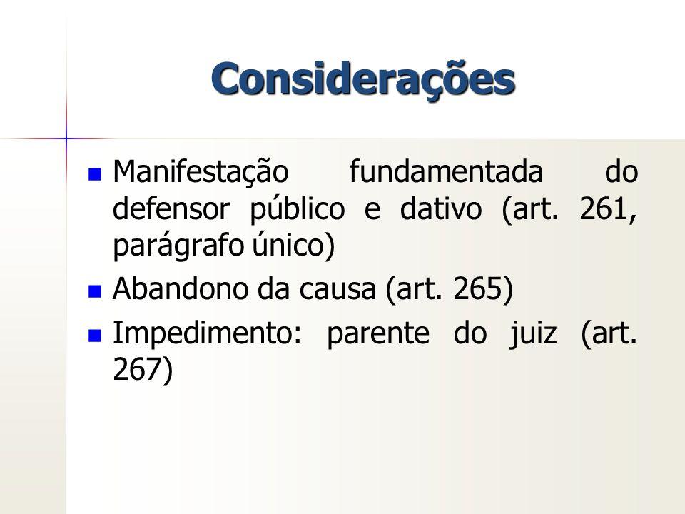 Considerações Manifestação fundamentada do defensor público e dativo (art. 261, parágrafo único) Abandono da causa (art. 265)