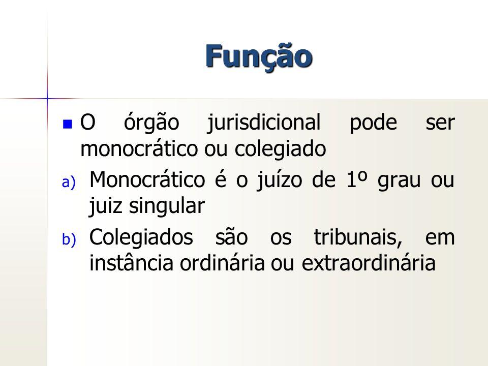 Função O órgão jurisdicional pode ser monocrático ou colegiado
