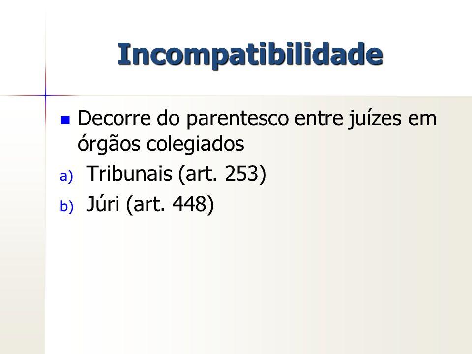 Incompatibilidade Decorre do parentesco entre juízes em órgãos colegiados.