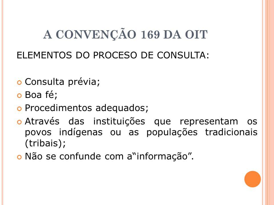 A CONVENÇÃO 169 DA OIT ELEMENTOS DO PROCESO DE CONSULTA: