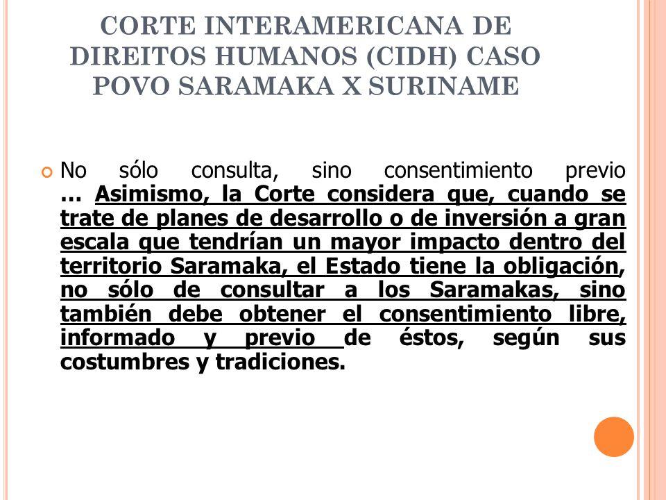 CORTE INTERAMERICANA DE DIREITOS HUMANOS (CIDH) CASO POVO SARAMAKA X SURINAME