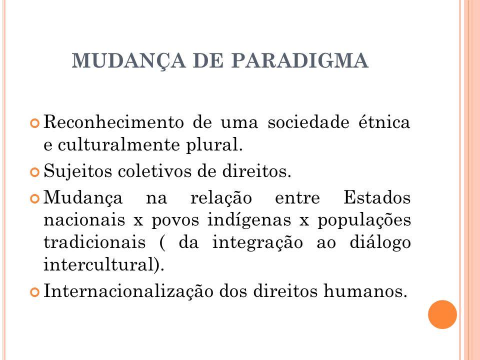 MUDANÇA DE PARADIGMA Reconhecimento de uma sociedade étnica e culturalmente plural. Sujeitos coletivos de direitos.