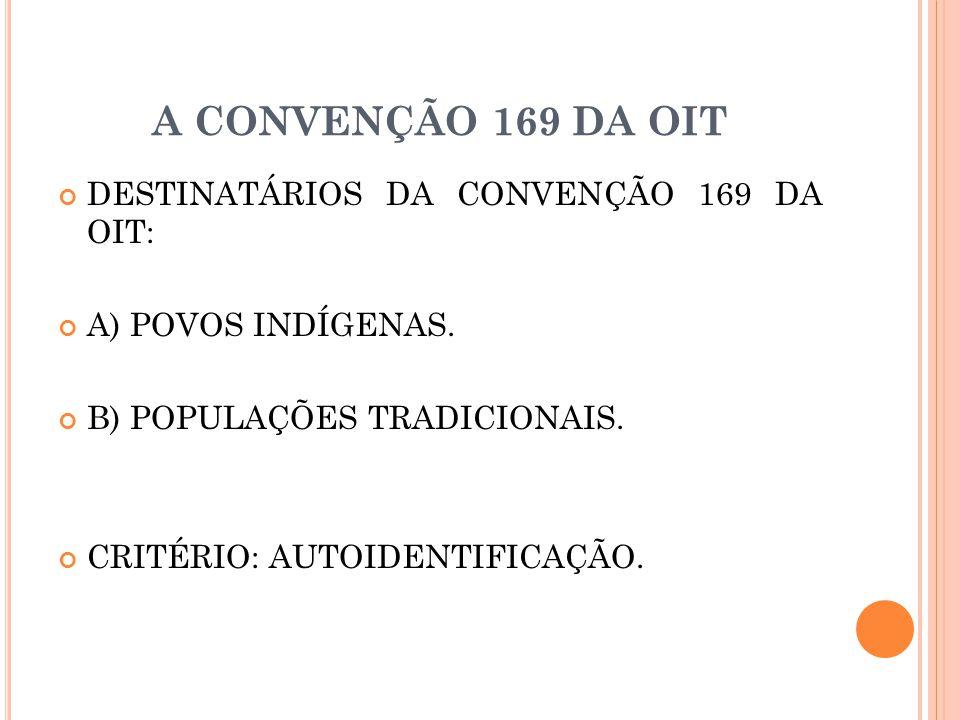A CONVENÇÃO 169 DA OIT DESTINATÁRIOS DA CONVENÇÃO 169 DA OIT: