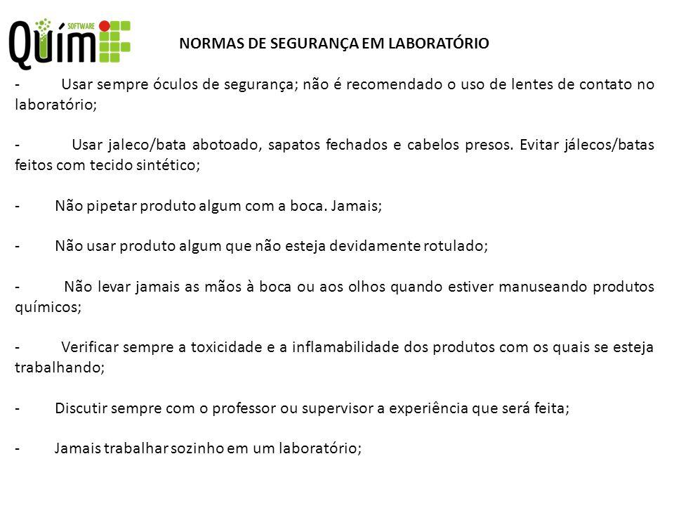 NORMAS DE SEGURANÇA EM LABORATÓRIO