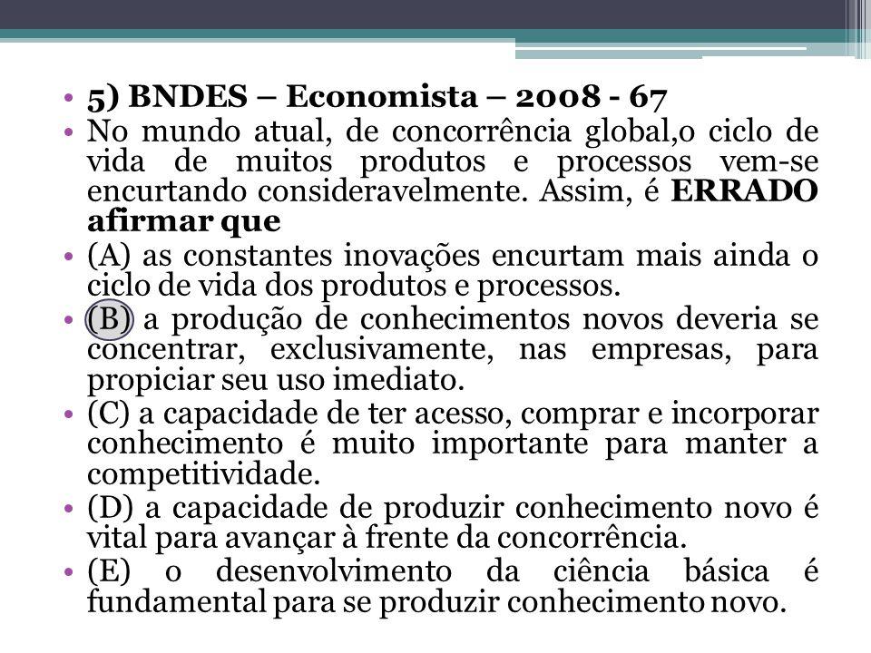 5) BNDES – Economista – 2008 - 67