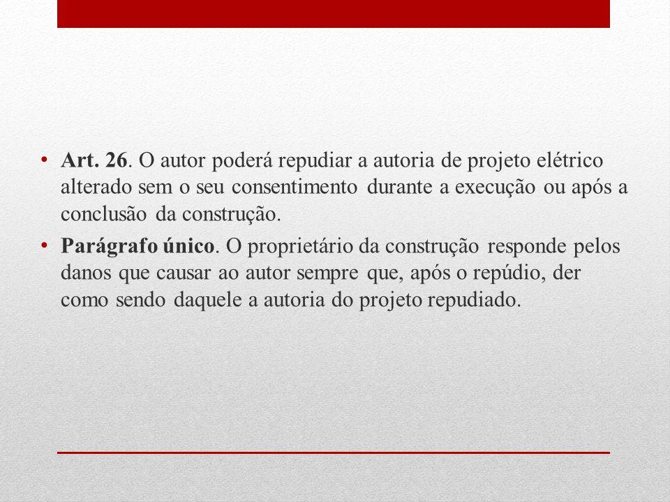 Art. 26. O autor poderá repudiar a autoria de projeto elétrico alterado sem o seu consentimento durante a execução ou após a conclusão da construção.