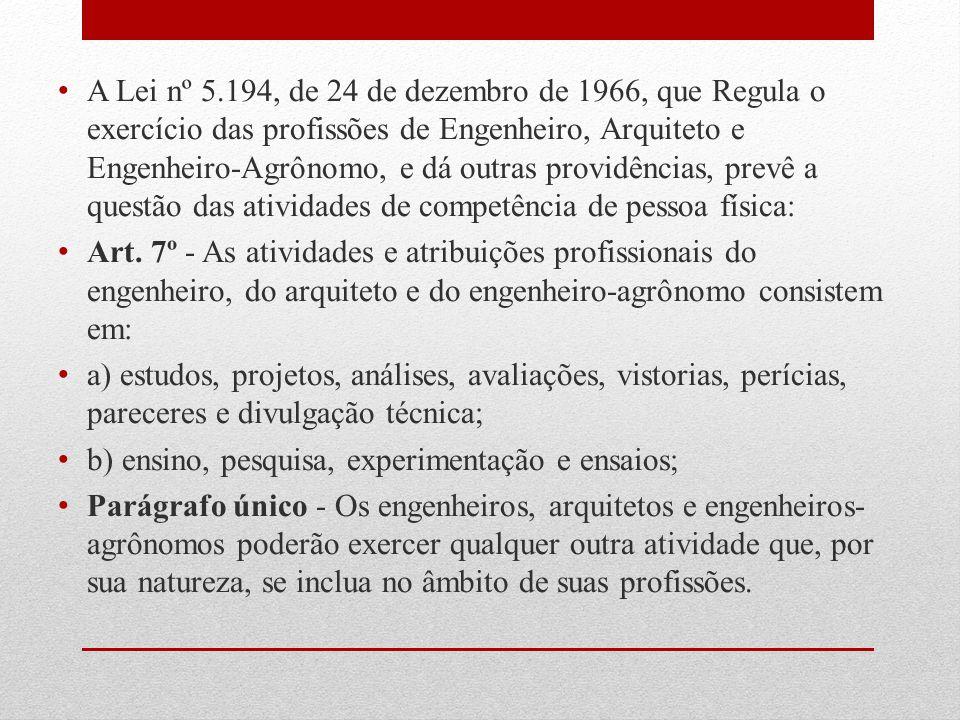 A Lei nº 5.194, de 24 de dezembro de 1966, que Regula o exercício das profissões de Engenheiro, Arquiteto e Engenheiro-Agrônomo, e dá outras providências, prevê a questão das atividades de competência de pessoa física: