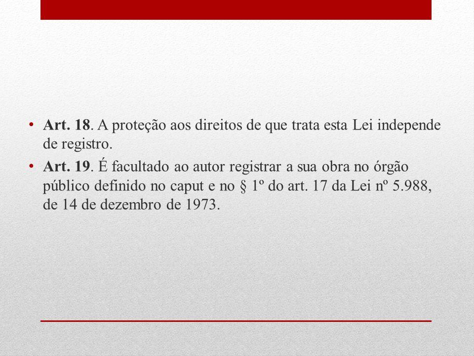 Art. 18. A proteção aos direitos de que trata esta Lei independe de registro.