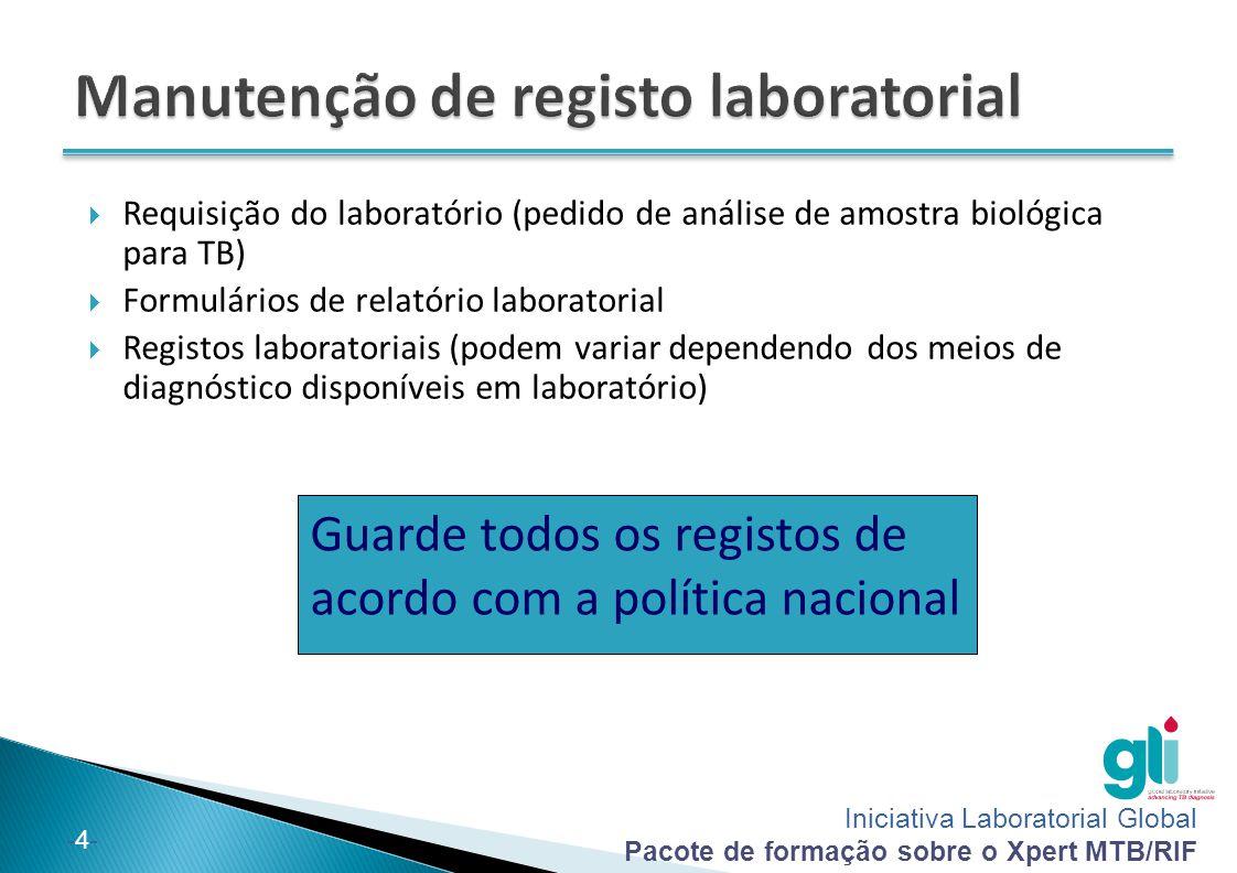 Manutenção de registo laboratorial