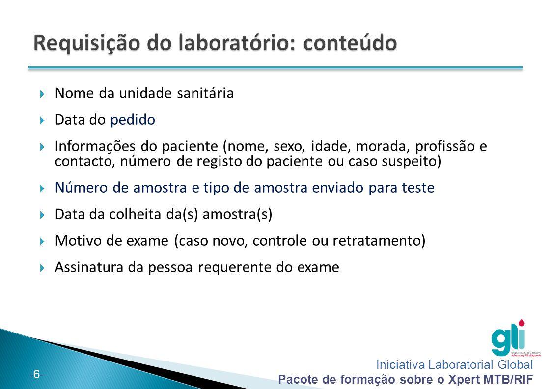 Requisição do laboratório: conteúdo