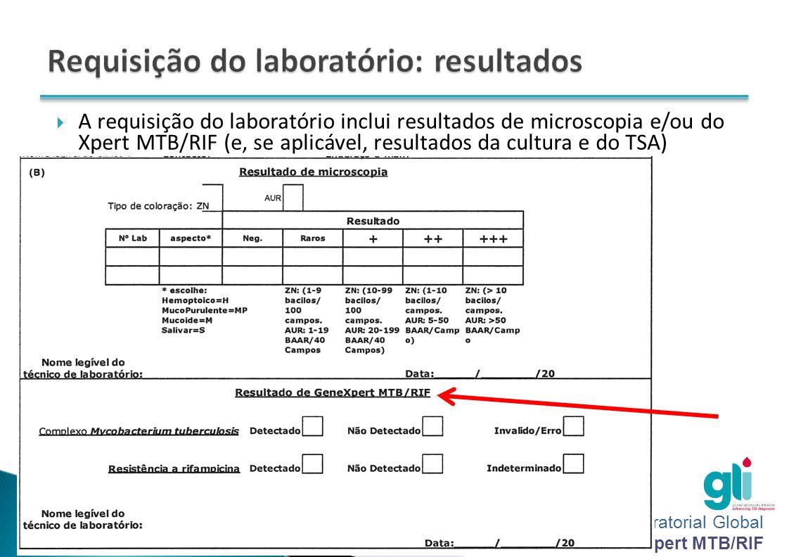 Requisição do laboratório: resultados