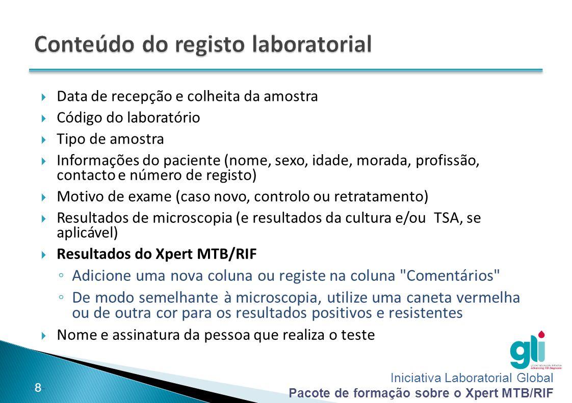Conteúdo do registo laboratorial