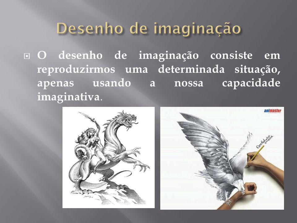 Desenho de imaginação O desenho de imaginação consiste em reproduzirmos uma determinada situação, apenas usando a nossa capacidade imaginativa.