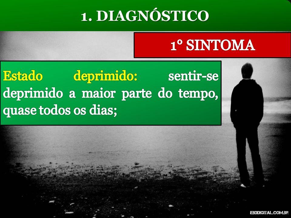 1. DIAGNÓSTICO 1° SINTOMA. Estado deprimido: sentir-se deprimido a maior parte do tempo, quase todos os dias;