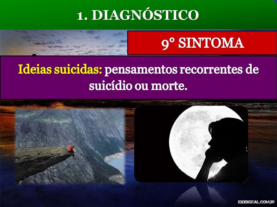 Ideias suicidas: pensamentos recorrentes de suicídio ou morte.