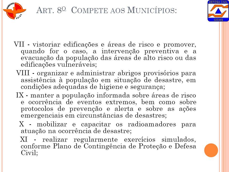 Art. 8o Compete aos Municípios: