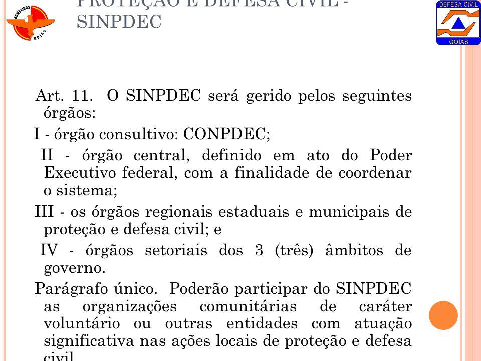 DO SISTEMA NACIONAL DE PROTEÇÃO E DEFESA CIVIL - SINPDEC