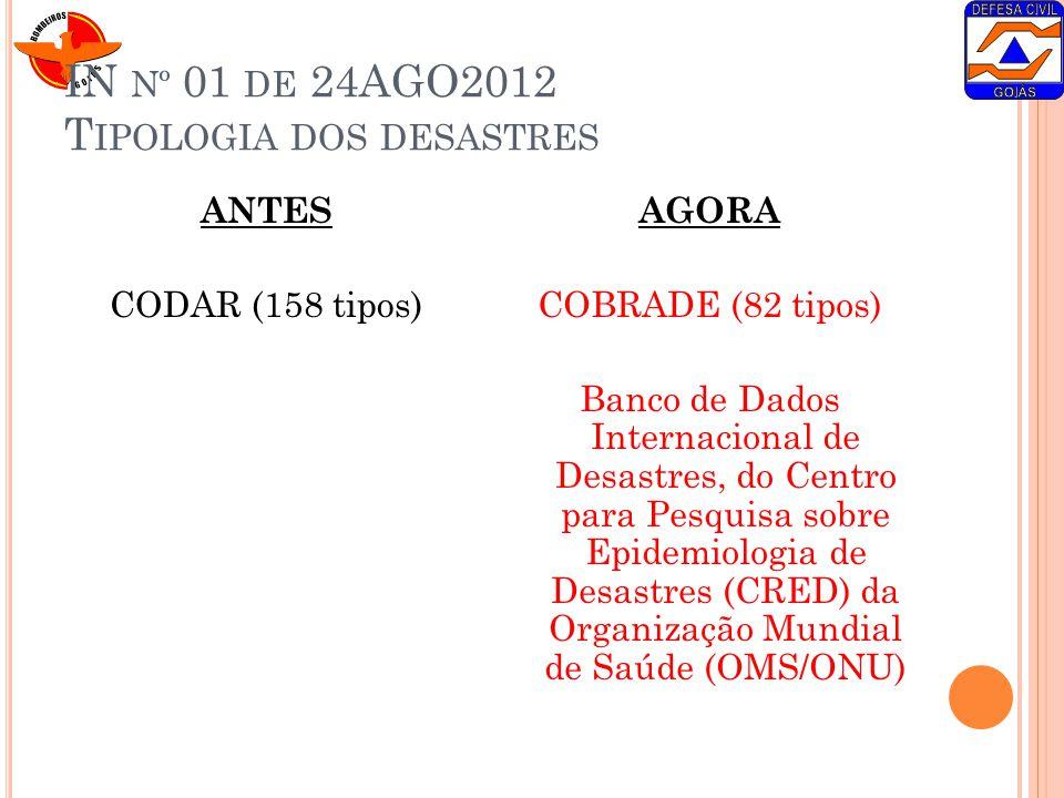IN nº 01 de 24AGO2012 Tipologia dos desastres