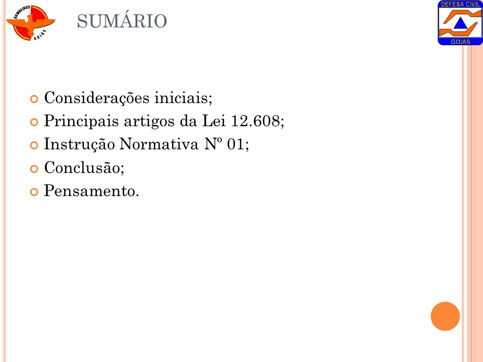 SUMÁRIO Considerações iniciais; Principais artigos da Lei 12.608;