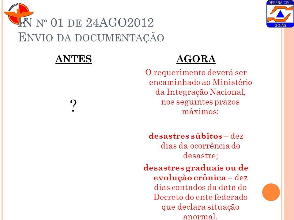 IN nº 01 de 24AGO2012 Envio da documentação