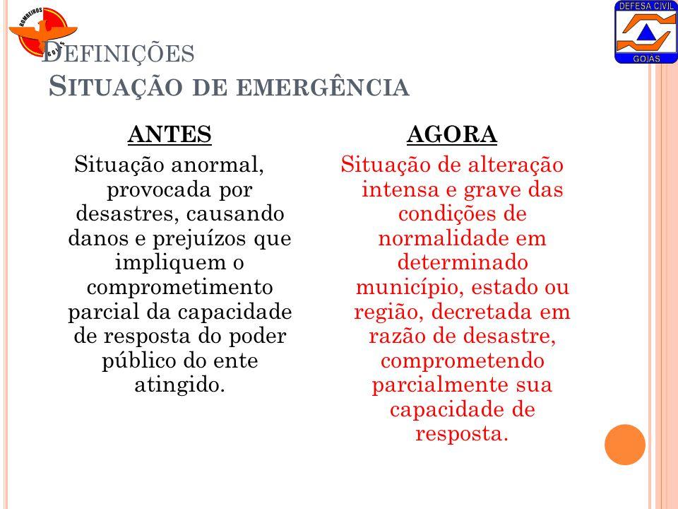 Definições Situação de emergência