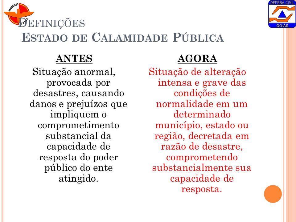 Definições Estado de Calamidade Pública