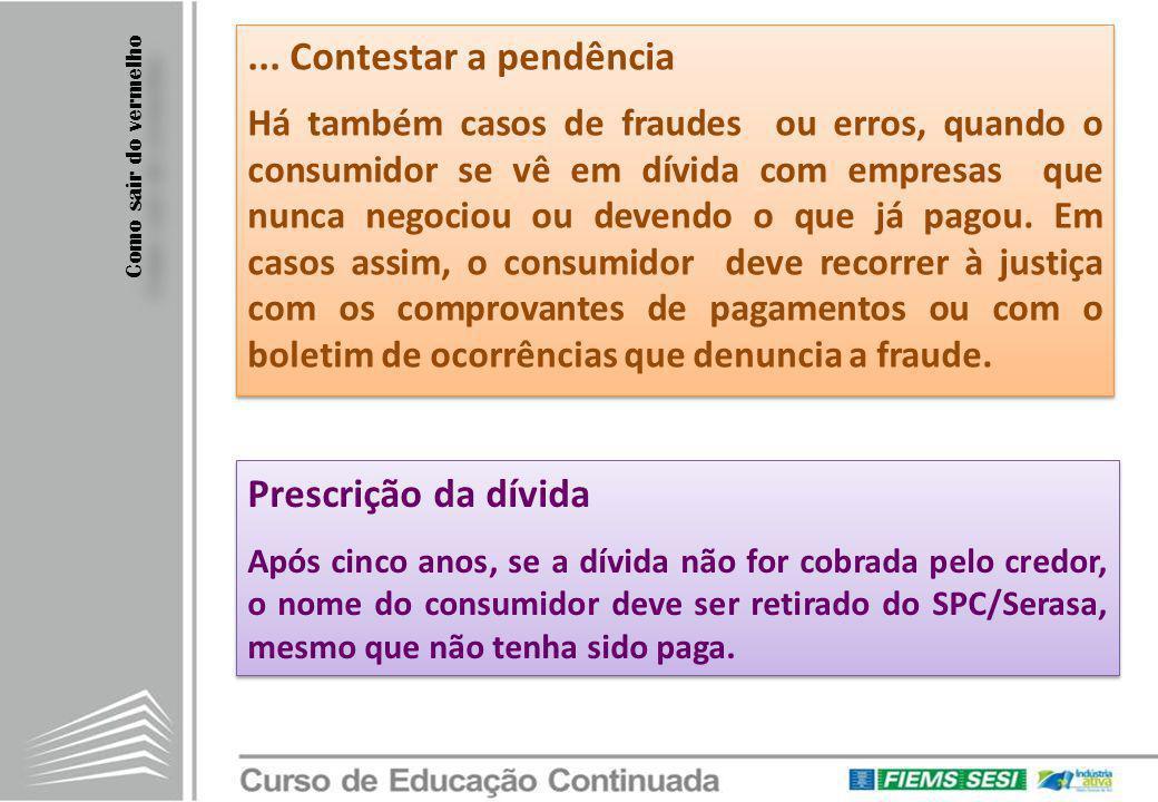 ... Contestar a pendência Prescrição da dívida