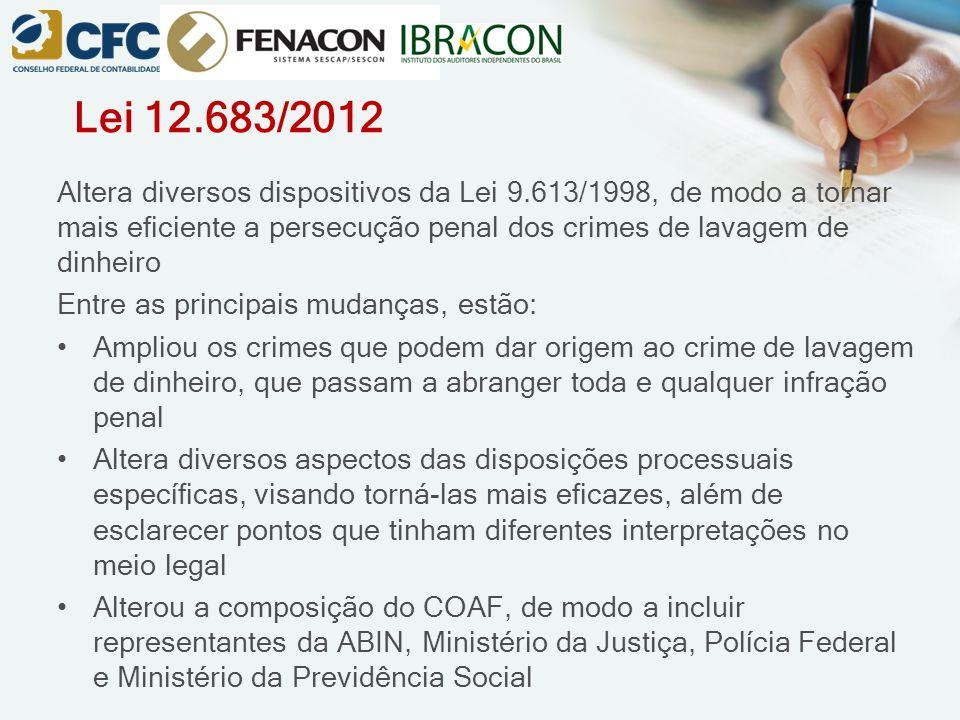 Lei 12.683/2012 Altera diversos dispositivos da Lei 9.613/1998, de modo a tornar mais eficiente a persecução penal dos crimes de lavagem de dinheiro.